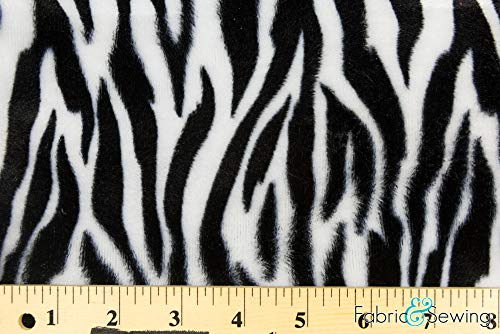 - White and Black Small Zebra Animal Print Velboa Plush Faux Fake Fur Fabric Polyester 14 oz 58-60