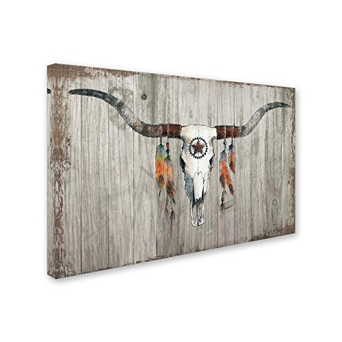 Longhorn on Dark Gray Wood by Avery Tillmon, 30x47-Inch Canvas Wall Art by Trademark Fine Art (Image #1)