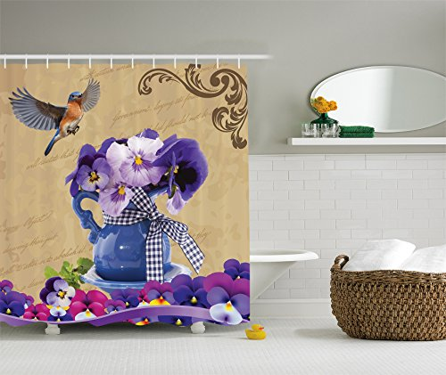 Pansy Flower Pictures (Ambesonne Country Decor Collection, Small Bluebirds Hummingbirds Pansy Flowers with Blue Vase on a Vintage Letter, Polyester Fabric Bathroom Shower Curtain Set with Hooks, Purple Beige)