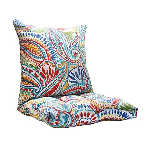 FBTS Prime Outdoor Chair Cushion and Outdoor Pillow Red and Blue Paisley Pattern Patio Decorativ ...