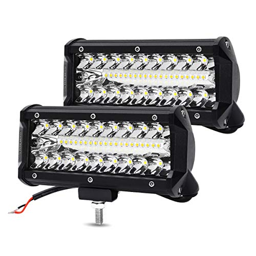 7 Inch LED Light Bar LED Pods YITAMOTOR 2PCS 240W Spot Flood Combo Light 32000LM Waterproof LED Work Light Off Road Driving Fog Lamps Compatible for Jeep Truck Tractor Pickup Boat UTV ATV (Tractor Light Bar)