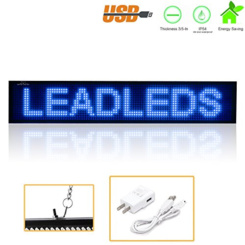Leadleds K1696B Scrolling LED Sign Programmable Message Board for Business Sandwich Beer Salon Office, Blue by Leadleds