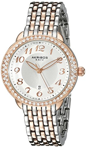 Akribos XXIV Women's AK831TTR  Round Silver Radiant Sunburst Center Dial Quartz Two Tone Bracelet Watch