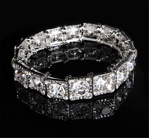 Asian Silver Bracelet (P.phoebus 18K Silver Gold Vintage Swarovski Crystal White Rhinestones Dangle Charm Bracelet For Women Girls)