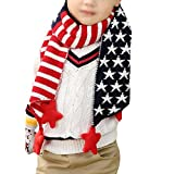 Monique Kids Stars Stripes Jacquard Woolen Yarn Knitted Scarf Autumn Winter Warm Scarves Mufflers Red