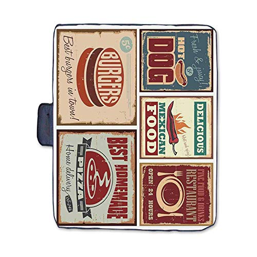 1950s Decor Stylish Picnic Blanket,Nostalgic Tin Signs and Retro Mexican Food Prints Aged Advirtising Logo Style Artistic Design Mat for Picnics Beaches Camping,58