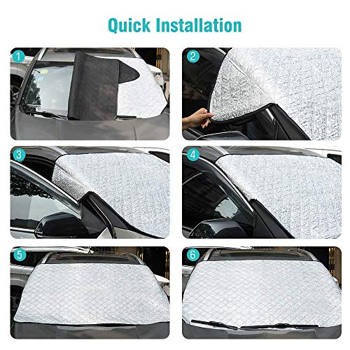 Four Heart Car Window Shade - Car Window Sunshades, Car Sun Shade, Rear Window Sun Shade, Universal Car Rear Front Window Sunshade for Baby Kids and Pets, Fit Most Small & Medium Car(147 * 100CM)