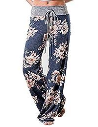 NECOOER Women's Floral Print Drawstring High Waist Wide Leg Lounge Pants