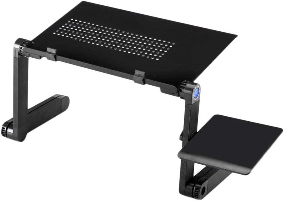 noir Support de bureau de refroidissement pour ordinateur portable pliable en alliage daluminium avec plaque pour souris