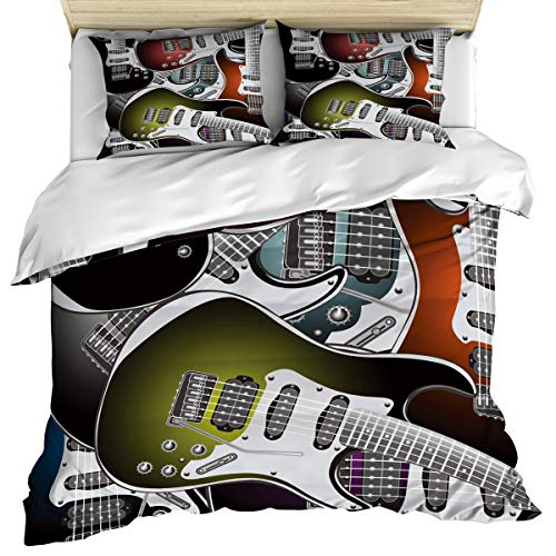 Popstar Party 3 Piece Bedding Set Comforter Cover Twin Size, Pile of Graphic Electric Guitars Rock Music Instruments,Duvet Cover Set Bedspread Daybed with Zipper Closure for - Star House Patrick Rock