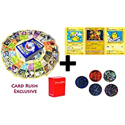 100 Pokemon Cards with SURFING, FLYING, PROMO PIKACHU holo set- 5 coin tokens, deck box, ultimate Gift Collection