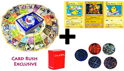 Set Card Promo 5 (100 Pokemon Cards with SURFING, FLYING, PROMO PIKACHU holo set- 5 coin tokens, deck box, ultimate Gift Collection)