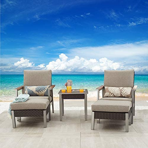 Festival Depot 5 Pieces Patio Outdoor Conversation Chairs Cushions Ottomans Set