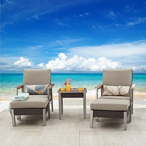 Festival Depot 5 Pieces Patio Outdoor Conversation Chairs Cushions Ottomans Set