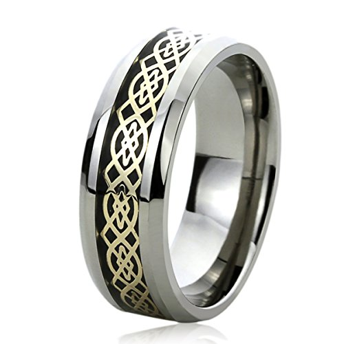 8MM Titanium Mens Womens Rings Yellow Tone Celtic Knot Comfort Fit Inlayed Wedding Bands SZ: 10.5 - Ladies Celtic Wedding Band