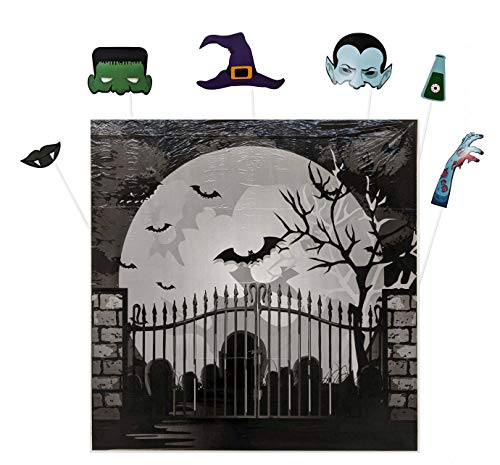Halloween Backdrops Kit with Spooky Graveyard Cemetery Background and DIY Props Kit for Photo Booth of Full Moon Bats Frankenstein Vampire Witch's Hat Fangs Zombie Hands and