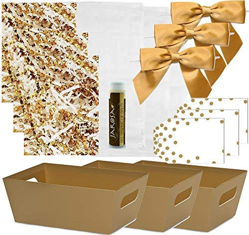 Pursito Gift Basket Making Kit Includes: Metallic Gold Market Tray, Crinkle Cut Paper, Cellophane Bag, Gold Satin Bow & Gift Tag - 3 Total Sets Wedding, Christmas & Birthday Gifts with Bonus Lip Balm