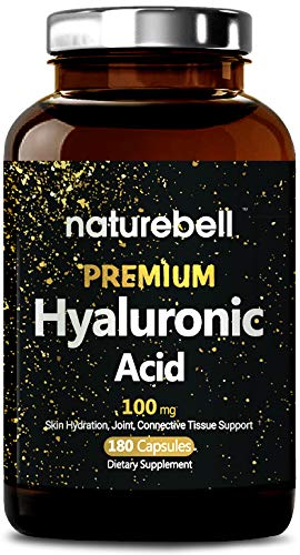 Maximum Strength Hyaluronic Acid 100mg, 180 Capsules, Powerfully Supports Skin Hydration, Joints Lubrication and Hair, Nail, Bone & Cartilage Health. Non-GMO and Made in USA