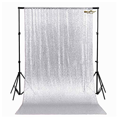 (ShinyBeauty Sequin Backdrop - Backdrop Photography and Photo Booth Backdrop for wedding/Party/Photography/Curtain/Birthday/Christmas/Prom/Other Event Decor - 4FTx6FT(48inx72in) (Silver))