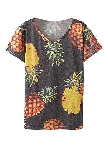 Amy Babe Women Tropical Graphic Pineapples Print Loose Tee Shirt (Tropical Print Knit Top)