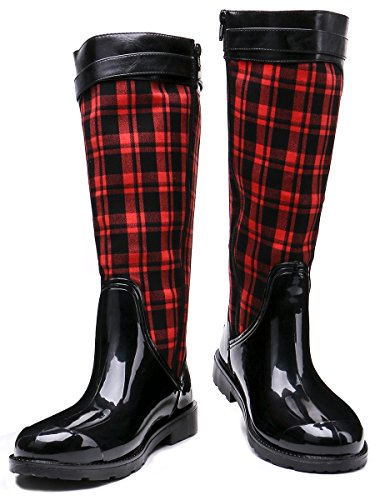 Red Booties Rain Plaid Boots Snow TONGPU Women's Zipper Fpx7w