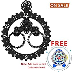 SevenUp Gear Clock Wall-Premium Plastic and Metal Parts Material, Best 3D Moving Gear Clock Wall, 26 x 22, A Fine Artwork, Perfect for Living Room, Reading Room, Restaurant, Office Decor (Black)
