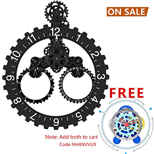 SevenUp Gear Clock Wall-Premium Plastic and Metal Parts Material, Best 3D Moving Gear Clock Wall, 26″ x 22″, A Fine Artwork, Perfect for Living Room, Reading Room, Restaurant, Office Decor (Black) For Sale