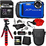 "Fujifilm FinePix XP90 Waterproof digital camera (Blue), 32GB Class 10, Memory Card Reader, 12"" Tripod, Camera Case, Polaroid Floating Foam Strap Red, Polaroid Cleaning Kit & Accessory Bundle"