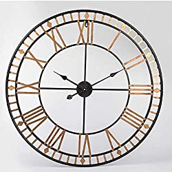 KYGZ-ZB Table Wall Clock, 31 inches Large Metal Wall Clock Antique Vintage Retro Style Home Hotel Bar Office Decor Gift Idea Roman Numerals