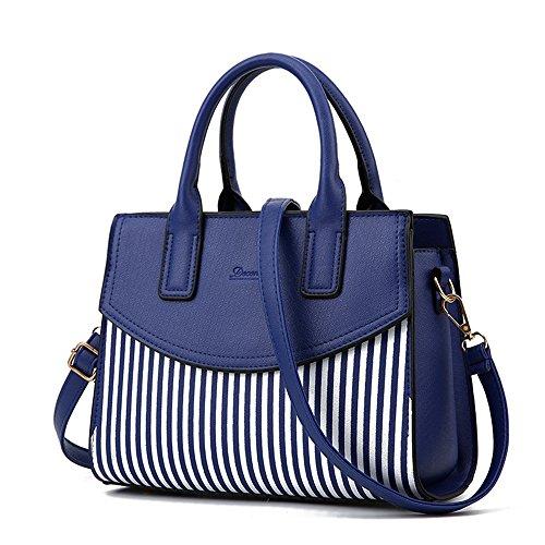 NWT Women Top Handle Bags Bowling Bag Faux Leather Stripe Satchel Shoulder Handbags,Blue (Pink Ladies Bowling Bag)
