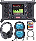 Zoom F6 Multi-Track Field Recorder Bundle with 32GB Class 10 SDHC SD Card, SR350 Over Ear Stereo Headphones, Blucoil 2-Pack of 10-FT Balanced XLR Cables, and 5-FT Audio Aux Cable