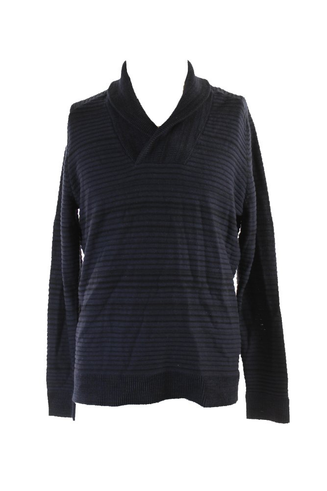 INC Mens Shawl Striped Pullover Sweater Navy L