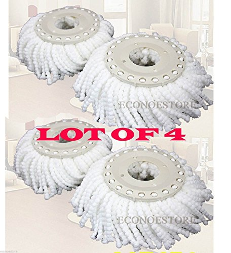 Replacement Microfiber Mop Head Refill 4 Hurricane Magic Mop 360° Spin- 4 Pack
