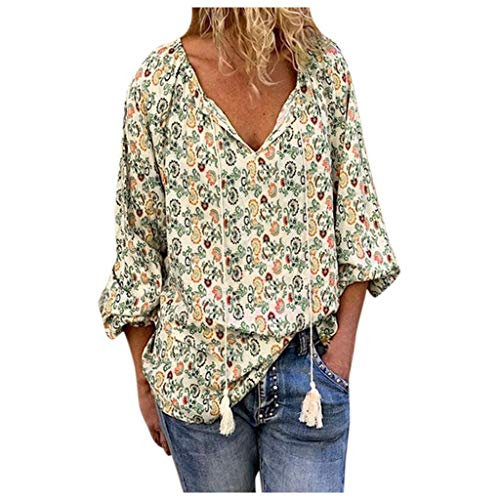 Xinantime Womens Casual Floral Print Tunic Long-Sleeved V-Neck Loose Blouses T-Shirts ()