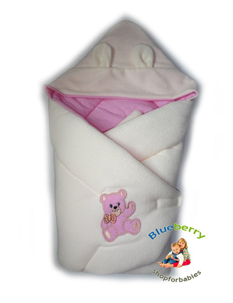 BlueberryShop Hooded Thermo Terry Swaddle Wrap/Blanket for Newborn Baby, Apricot Blueberry Shop for Babies 50006002