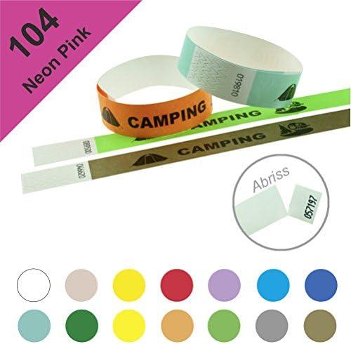 Einlassbänder, Kontrollbänder aus Tyvek – wasserfest, sicher, reißfest - 19mm, bedruckt, Motiv Camping (250 Stück Neon Pink)