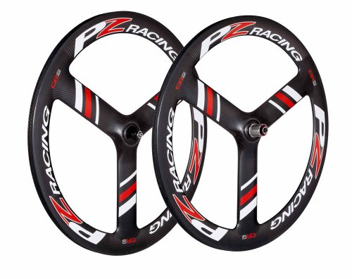 PZ Racing CR6.1W Tubular Three Spokes Shimano Wheel Set, Carbon Shiny Black