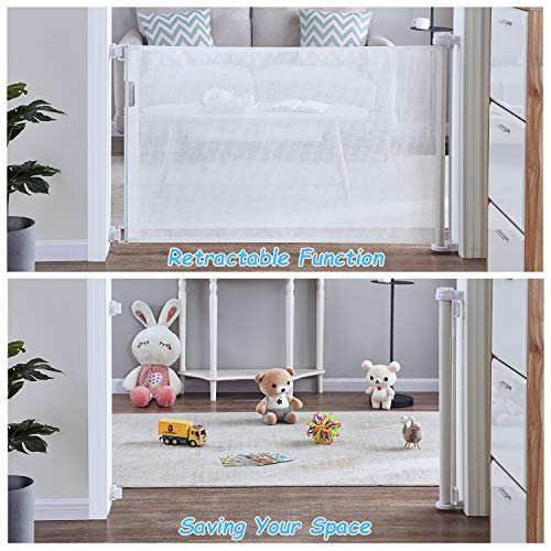 Mesh Retractable Gates for Babies and Pets, PRObebi Safety Baby Gate for Indoor/Outdoor/Stairs/Doorways/Deck/Banisters (180cm/71 inch)