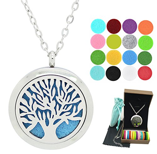 24' Life (Tree of Life Aromatherapy Essential Oil Diffuser Necklace Pendant 24'' Stainless Steel Adjustable Necklace Chain 16pcs Refill Pads (Tree of Lifee))