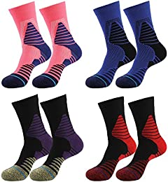 4 pack Men's Crew Socks Basketball Cushioned Dri-Fit Athletic Compression Sport Socks size 6.5-11.5 (Sport style 3)