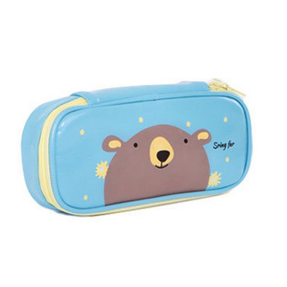 Cosanter matita borsa custodia lovely Bear modello in similpelle con cerniera in pelle cosmetici occhiali borsa per adolescenti