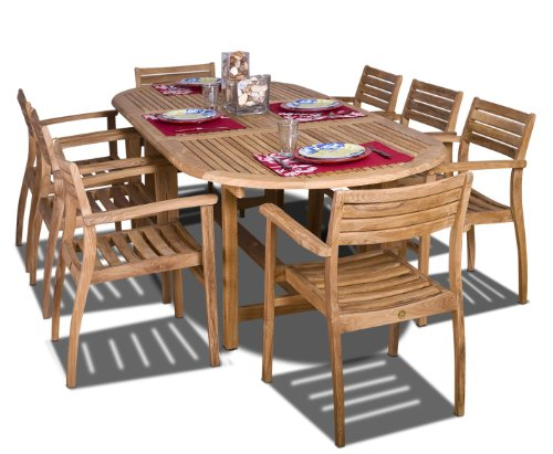 Amazonia Coventry 9-Piece Oval Patio Dining Set Certified Teak | Ideal for Outdoors, Light Brown - Dimensions & Weight: The overall dimensions of chairs are 22L x 21W x 31H. The seating dimensions are 16L x 18W x 16H. Each chair weighs 15 lbs. Weight capacity for each armchair is 250 lbs. Unextended Table dimensions are 39W x 71L x 29H. Extended table Length: 95.8 Sturdy & Durable Design: Amazonia Teak products can be left outside throughout the year and can withstand all types of weather, but it is recommended that they are treated with a teak sealer oil to maintain the golden-brown finish Comfortable & Convenient: Armchairs are stackable and lightweight making them easy to move around and store at your convenience. The table is perfect for big dinners due to its extendable facility - patio-furniture, dining-sets-patio-funiture, patio - 51Aa6G6z3qL -