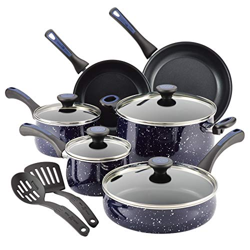 Paula Deen Riverbend Aluminum Nonstick Cookware Set, 12-Piece, Deep Blue Speckle