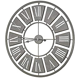 American Art Decor Oversized Vintage Metal Wall Clock 31 (Gray)