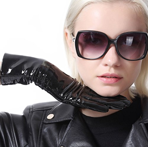 大砲堤防ボトルネックcalharmonレディースReal Patent Leather Mid長プレーンレザー手袋