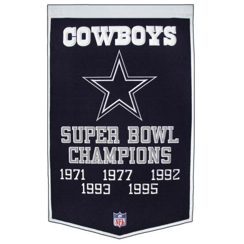 - Dallas Cowboys Super Bowl Championship Dynasty Banner - with hanging rod