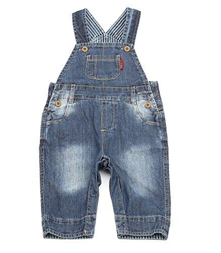 BAIXITE Baby & Little Boys/Girls Plaid Lining Denim Overalls Jeans (Various Styles) (9-12 M, Denim ()