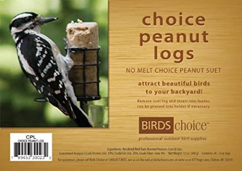 Birds Choice Choice Peanut Suet Logs (Case of 12) - Birds Choice Supper Dome