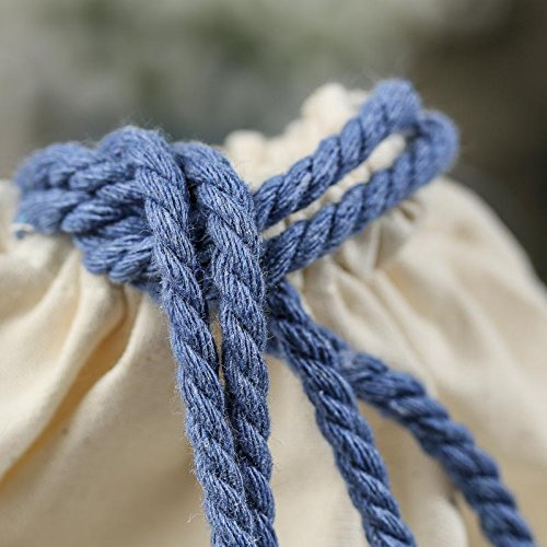 Factory Direct Craft Package of 10 Light Cotton and Muslin Bags with Blue Rope Handles for Favors, Crafting and Creating