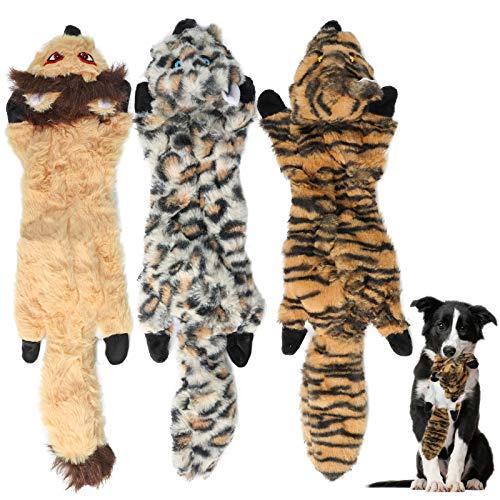 3 Pack Hund Quietschende Kauen Spielzeug,Tiger,Leopard,Löwe Welpenspielzeug Keine Füllung Hund Spielzeug Plüsch Tier…